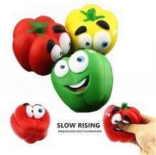 Jumbo Squishy Macio Lento Subindo Legumes Pimenta Squishi Squeeze Brinquedos Para Criança Brinquedo Antistress Funy Presente Atacado