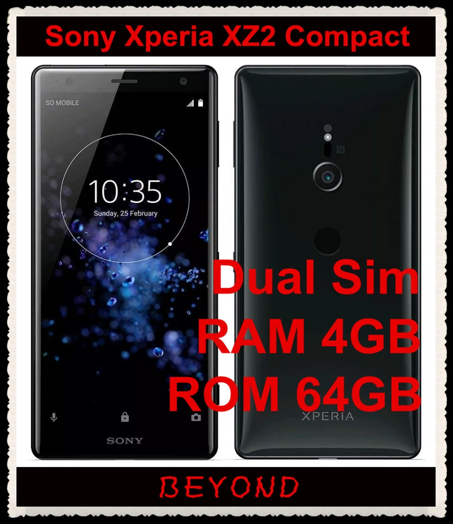 "Sony Xperia XZ2 compacto doble H8324 Original desbloqueado GSM Dual Sim LTE Android Octa Core RAM 4GB ROM 64GB 5,0 ""19MP huellas dactilares"