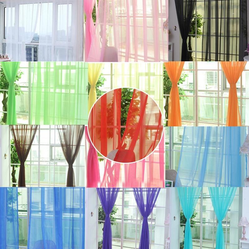 Moda colorido liso floral de gasa de ventana de puerta de cortina Panel cenefas bufanda divisor de nuevo