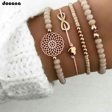 Docona Boho Herz Orange Beadeds Armband Set für Frauen Blume Ketten Einstellbar Armband Armreif Schmuck Bransoletka 4019