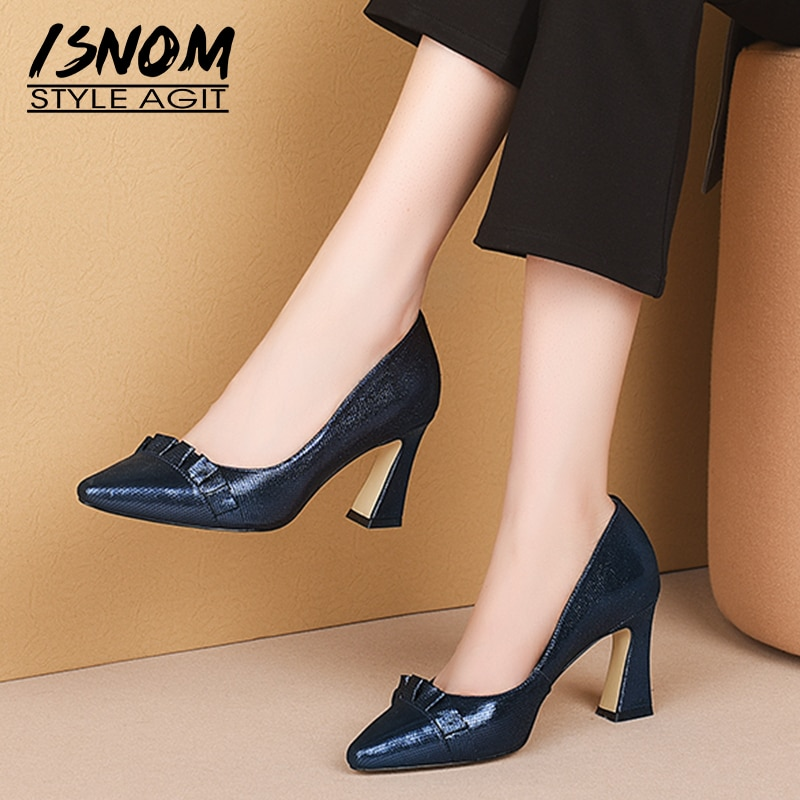 ISNOM Emboss Sheepskin Pumps Women High Heels Pumps Woman Pleated Shoes Female Party Pointed Toe Shallow Shoes Ladies Autumn