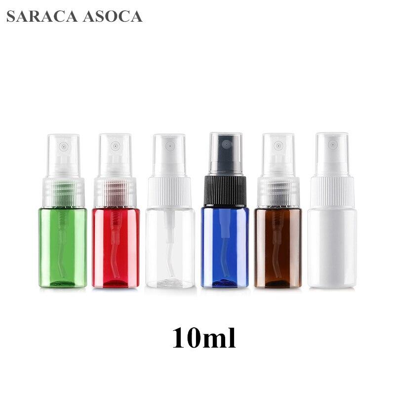 10 ml botella de Spray de hombro plano PET botella de plástico niebla fina botella de Spray de rocío puro Sub-paquete de prueba embotellado 100 unids/lote