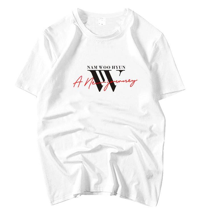 Kpop infinite nam woohyun album a new journey same printing o neck t shirt for summer unisex short sleeve t-shirt k-pop