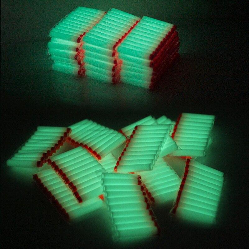 20 pçs 7.2cm fluorescência brinquedo arma balas luminosas para nerf série blasters recarga clipe dardos eva balas macias