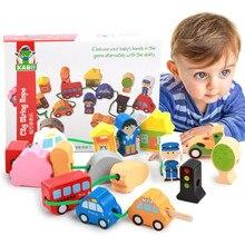 16 pièces de gros blocs de corde de ferme en bois de bande dessinée, jouets éducatifs pour enfants, jeux de perles, jouet Montessori pour bébé