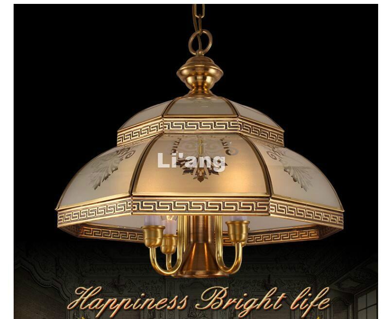 Moderna lámpara colgante de bronce antigua D54cm Vintage de cristal de cobre LED AC110V/220 V 100% garantizado envío gratis