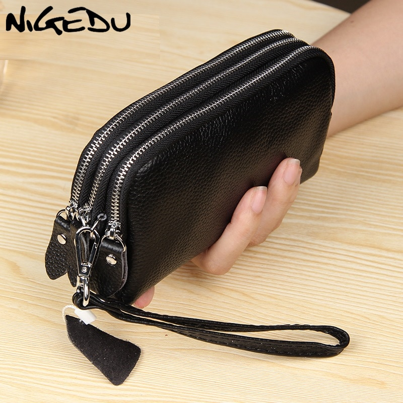 NIGEDU Long Women Wallet Genuine Leather 3 layers Zipper Wristlet Bag Big Capacity Lady Clutch Coin Purse Mobile phone bag black