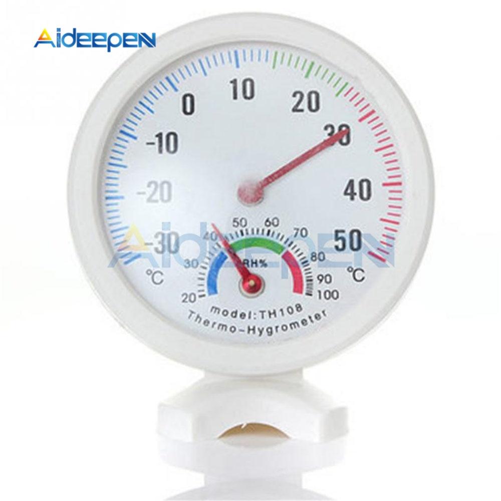 Mini termómetro de humedad en forma de reloj redondo medidores higrómetro de Exterior Interior medidor de temperatura de humedad