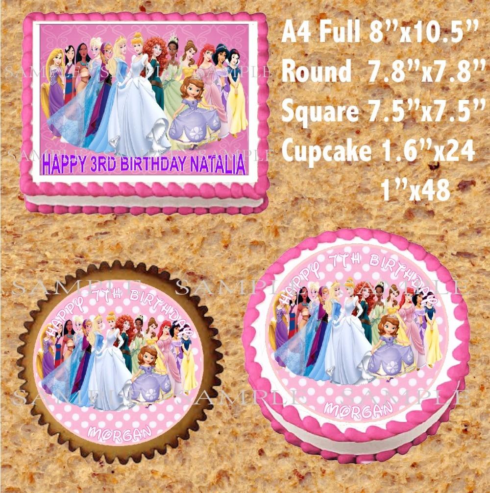 Decoración Para tartas comestibles de princesa, oblea de papel de arroz para tarta Magdalena galleta, decoración personalizada para niños, decoración para pastel de cumpleaños, proveedor
