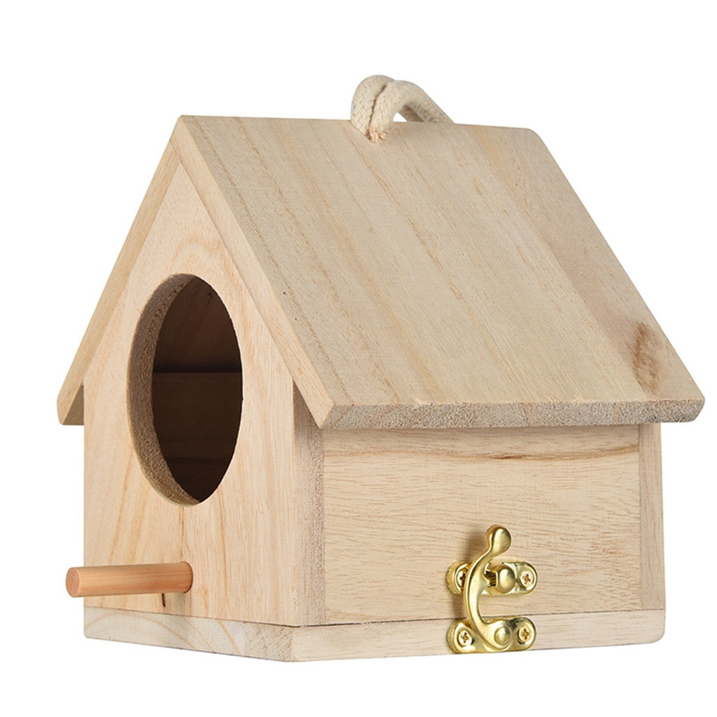 Wooden Nest House Bird Box Wooden Bird House Nest Creative Wall-mounted Outdoor Birdhouse Wooden Box Birdhouse Round Door #LR2