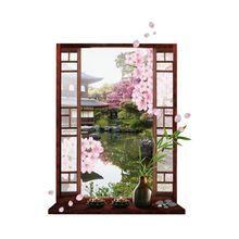 Hot 3D Venster Sakura Peach Blossom Flower Art Muursticker Verwijderbare Decal Mural