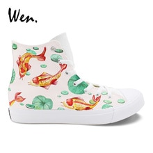 أحذية رياضية من القماش الكتاني للرجال والنساء ذات رسومات مرسومة يدويًا بتصميم أصلي من ون