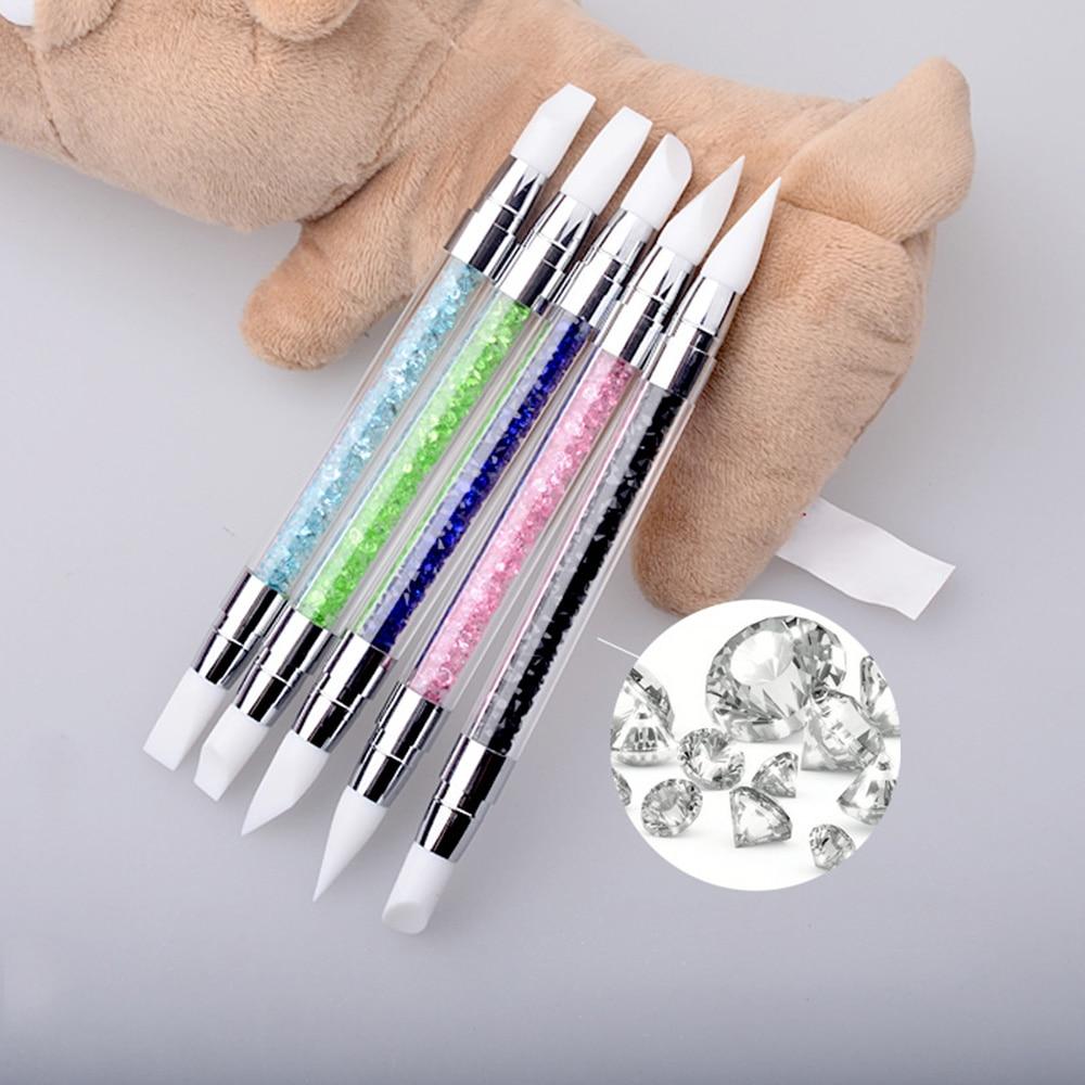 Новинка, пять цветов, 2-полосная ручка для рисования ногтей, кисти, инструмент для маникюра сделай сам, набор, скульптурная ручка, силиконовая ручка для резьбы