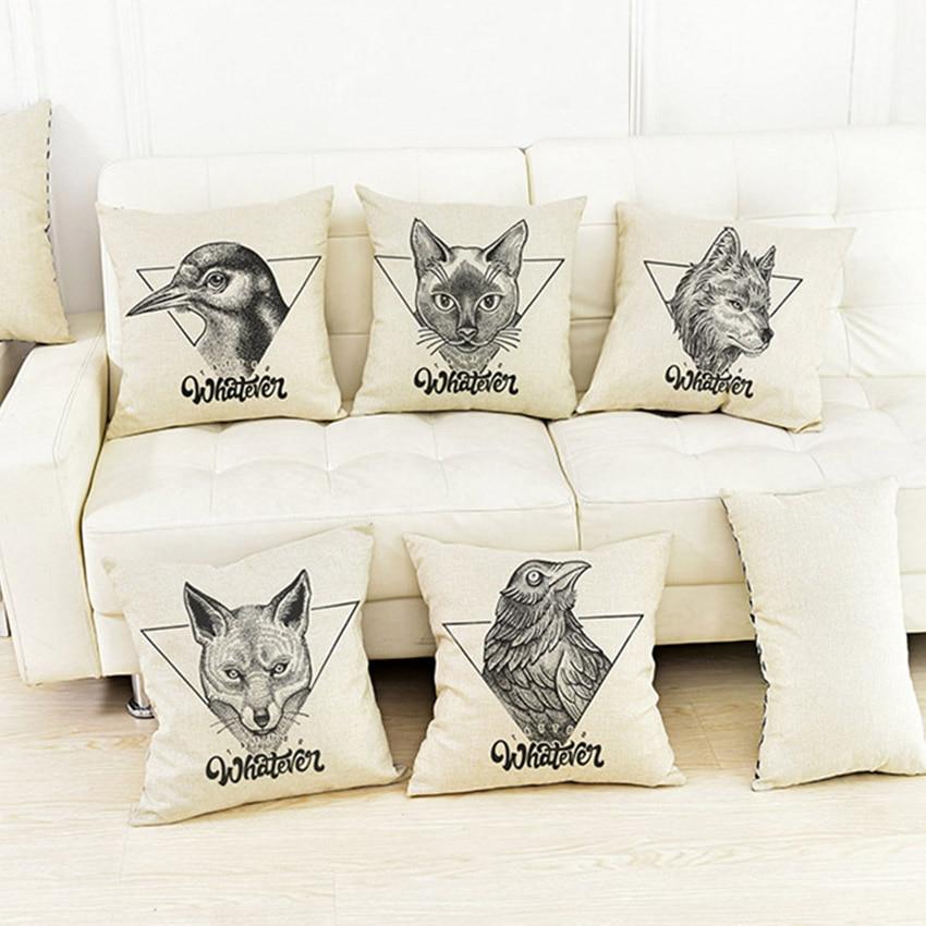 Almohadas con patrones decorativos de animales de tatuaje, funda de almohada para sofá, sofá, fundas con cubierta de cojín estampada de zorro, pingüino, gato, oso, ciervo