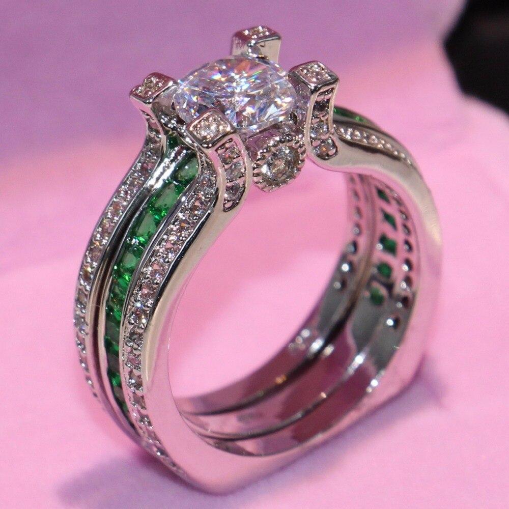 90% rabatt Marke Neue Tropfen Verschiffen Fahsion Schmuck 925 Sterling Silber Runde Cut Weiß & Grün CZ Frauen Hochzeit Braut ring Set