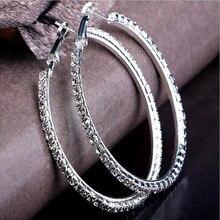 Brand New Design 5 Size Fashion Charm Austrian Crystal Hoop Earrings Geometric Round Shiny Rhinestone Big Earring Jewelry Women
