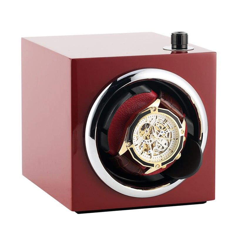 AU/EU/US/UK Plug rectangular Mute automático reloj bobinador rojo reloj bobinador de lujo automático de almacenamiento de madera caso zegarek motor