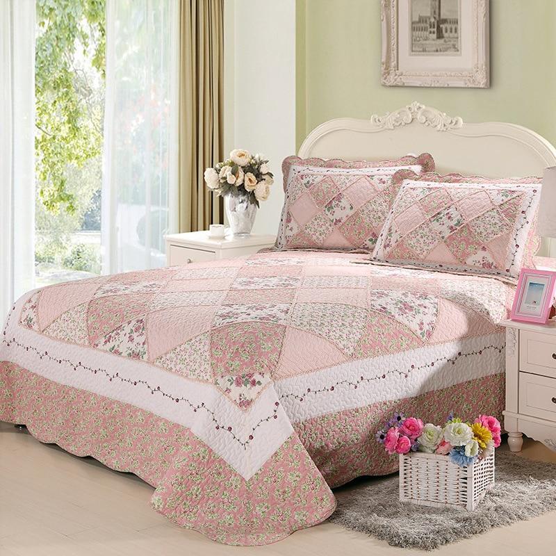 CHAUSUB الوردي لحاف خليط باتشورك مجموعة 3 قطعة القطن الرعوية مفرش مبطن على غطاء السرير المخدة بطانية الملك الحجم