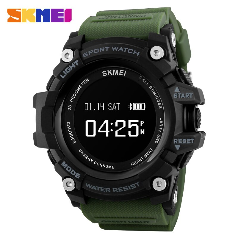 Reloj inteligente SKMEI para hombre, Monitor de ritmo cardíaco, reloj con Bluetooth, podómetro, cronógrafo de calorías, marca superior, relojes deportivos digitales de lujo