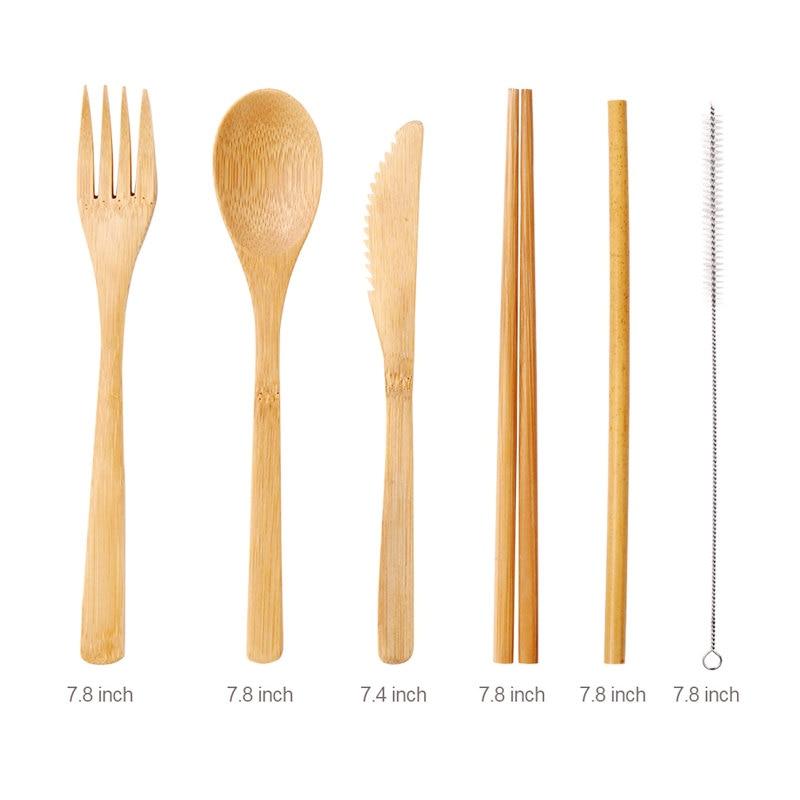 Бамбуковая посуда для путешествий, многоразовые бамбуковые Набор ножей столовые приборы, включая вилку, ложку, нож, соломинку, чистящую щетку с сумкой для переноски