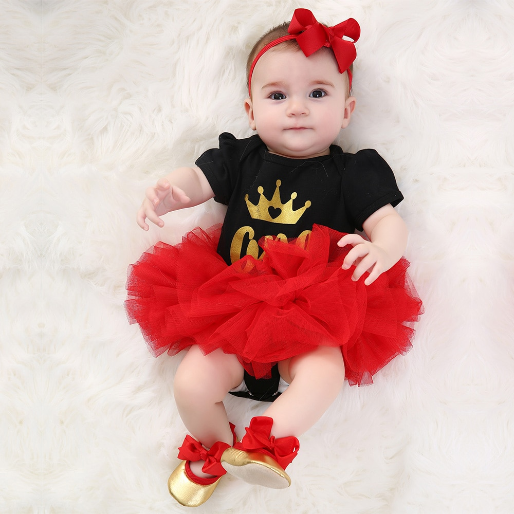 Faldas tutú Rojas corona manga corta mono ropa para bebé conjunto ropa de niña pequeña zapatos de algodón diadema 4 Uds