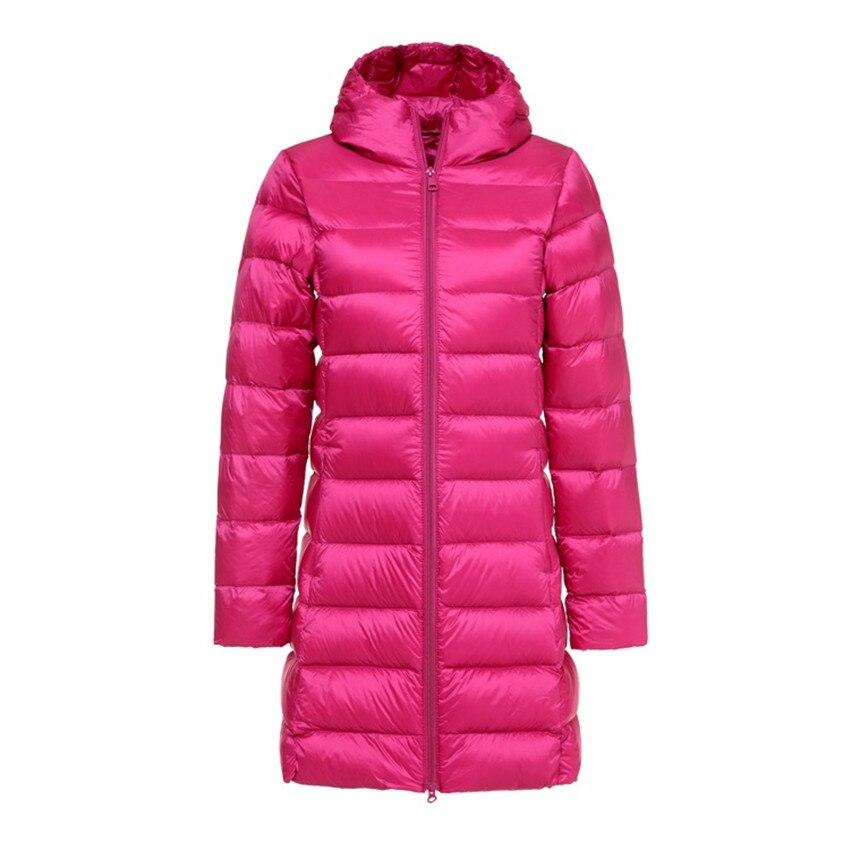 2018 New Autumn Women Hooded Down Coat Lady Midi Long White Duck Down Jacket Slim Plus Size Down Jackets Female Winter Coats 480