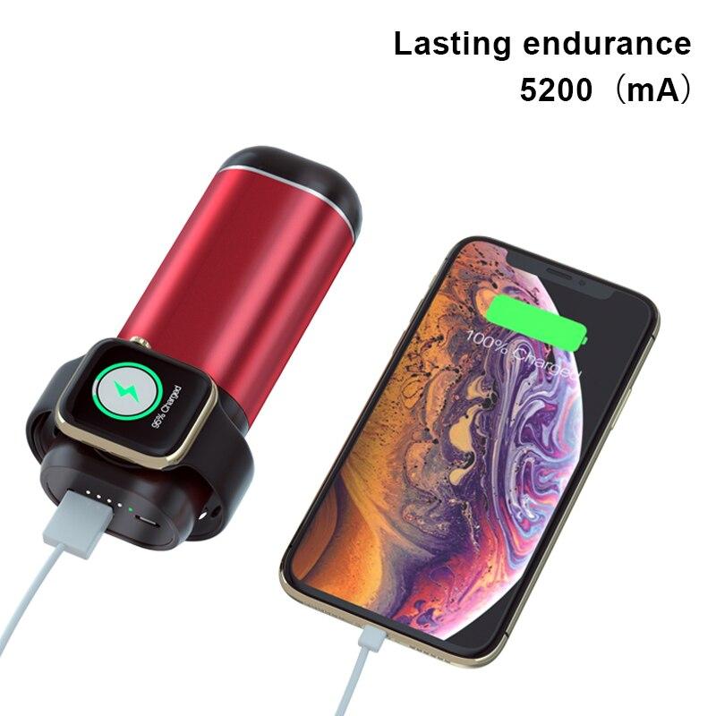 Cargador de batería 3 en 1 de 5200mAh para iPhone Xiaomi, cargador inalámbrico para Apple Watch serie 4/3/2/1 para AirPods, cargador de batería externo