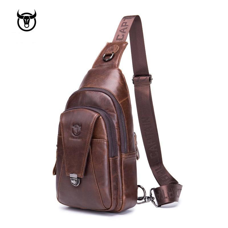 High Quality Men Genuine Leather chest bag Cowhide Vintage Chest Back Pack Travel fashion Cross Body Messenger Shoulder Bag