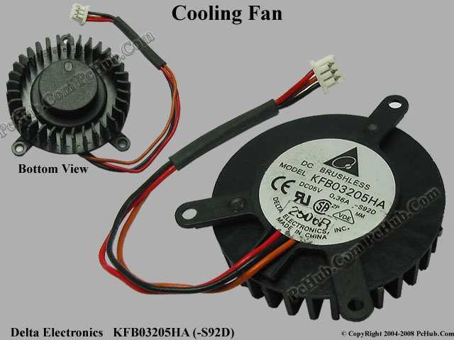 Delta Electronics KFB03205HA (S92D) ventilador de refrigeración de servidor DC5V 0.36A 3-de alambre