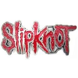 Fivela de cinto de música de metal pesado slipknot vermelho