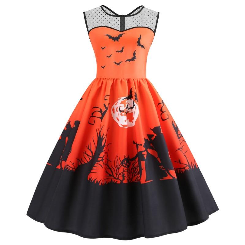 Robe Kostuum Halloween Femme 2018 Zomer Mouwloze Gewaden Vintage Pin up Rockabilly Party Pompoen Dress Grote Schommel Plus size 3XL