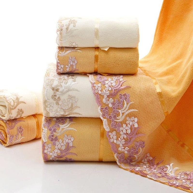 3 قطعة/الوحدة منشفة مجموعة الدانتيل الحدود التطريز ستوكات 2 قطعة منشفة الوجه + 1 قطعة حمام منشفة الجملة أنيقة نمط عالية الجودة تيري