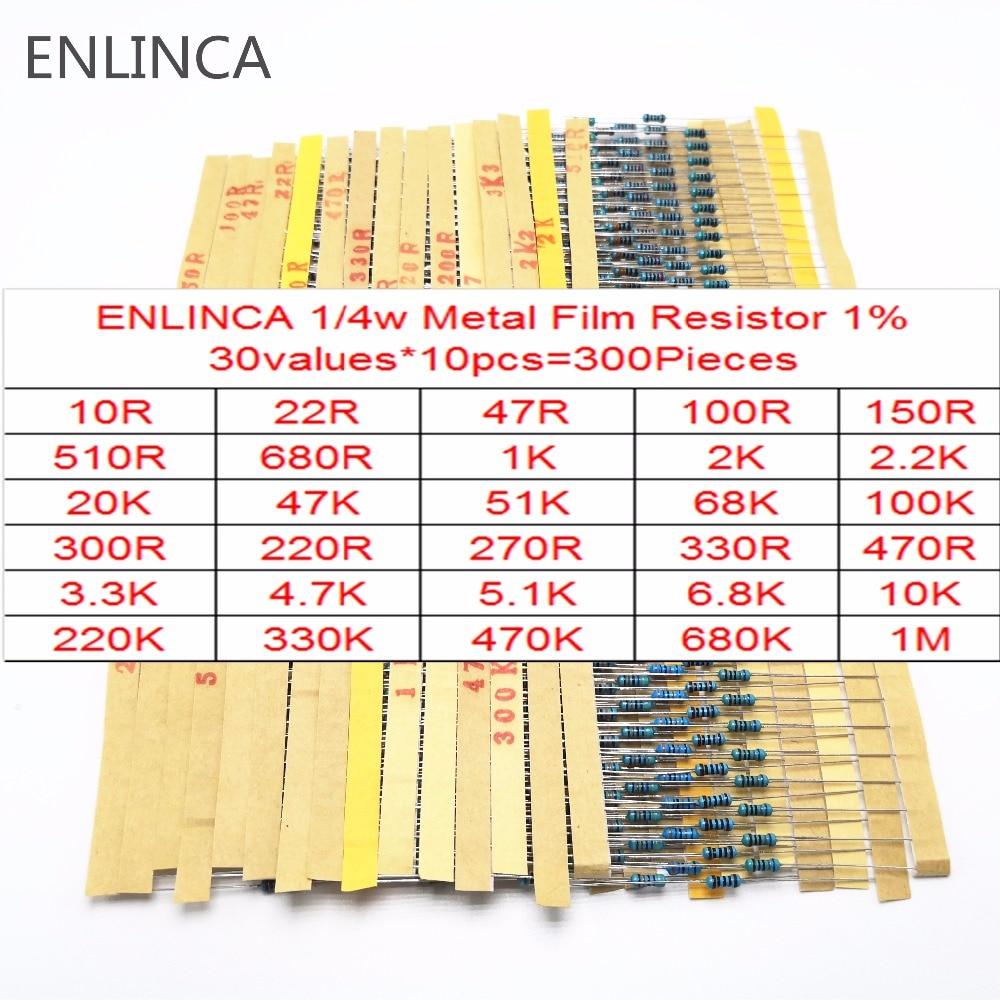 30-130Values 1/4W Metal Film Resistor Kit 1% 0.25W Resistor Assorted diy Kit Set 1 ohm-1M ohm Resistance Pack