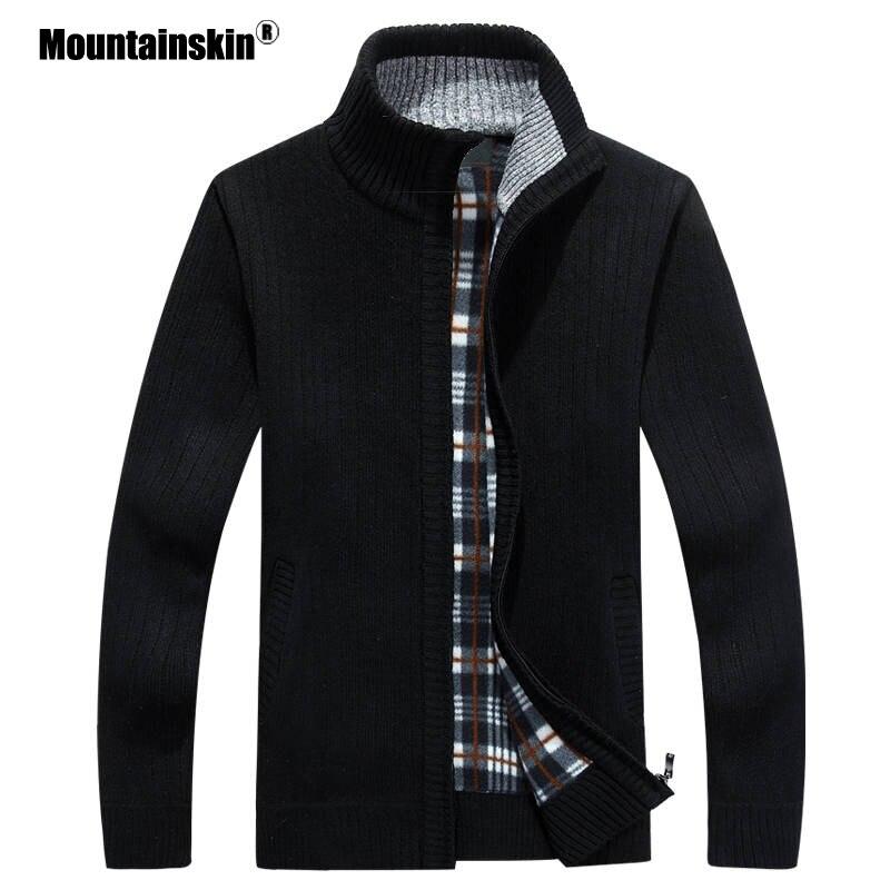 Мужской повседневный вязаный свитер Mountainskin, теплый толстый бархатный кардиган, верхняя одежда, осень-зима 2019