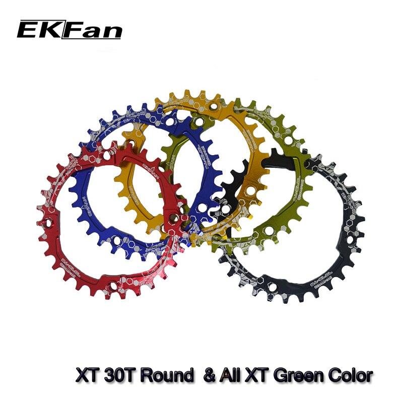 Овальная Круглая велосипедная пластина EKFan 104BCD XT 30T 32T 34T 36 T, узкая широкая велосипедная круглая шатунная пластина для горного велосипеда