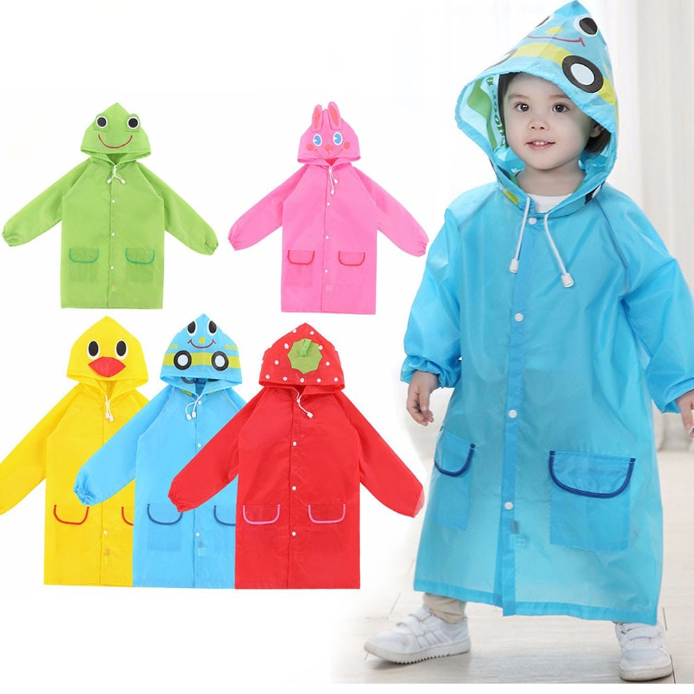 1 Uds. Chubasquero impermeable de dibujos animados para niños, ropa de poliéster, chaqueta para niños y niñas, chubasquero