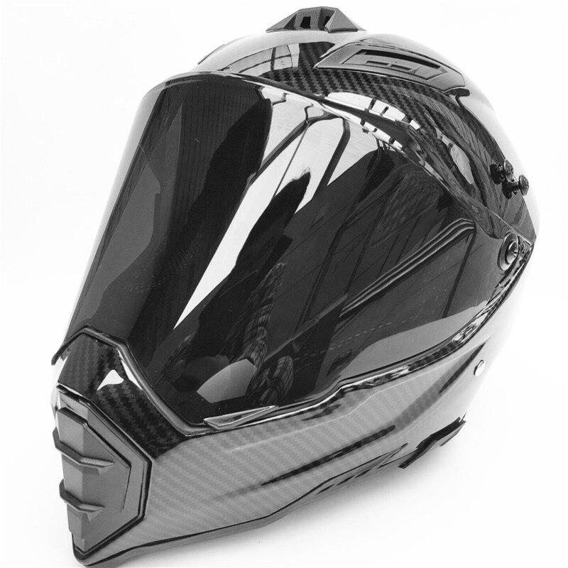 Casque de moto sans route   Imprimé en Fiber de carbone, casque de moto, moto de descente et de moto, casco capacité approuvée