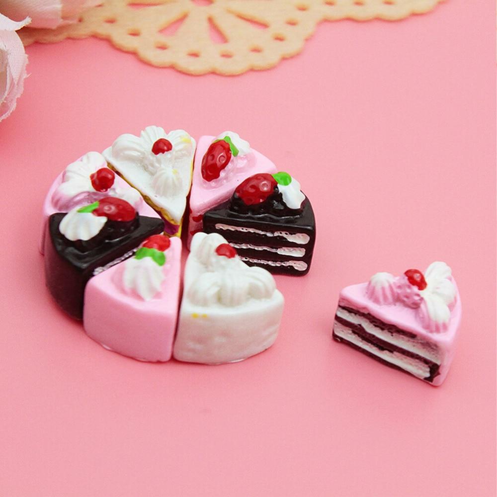 10 piezas DIY colorido mezcla pastel resina miniatura flores pastel caramelo resina cabujones para teléfono Deco, accesorio de joyería