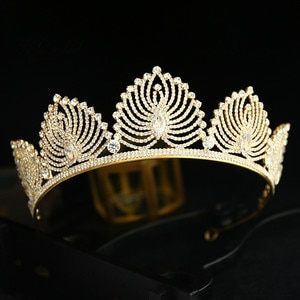 PEORCHID Rhinestone Metal Hairbands Wedding Tiaras For Brides Hair Accessories Women Crystal Jewelry Silver Gold Queen Crown