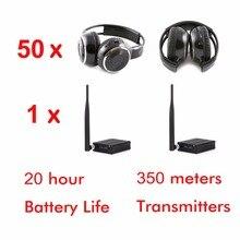 500 mt 3-kanal silent disco kopfhörer paket (50 faltbare RF kopfhörer und 1 sender)