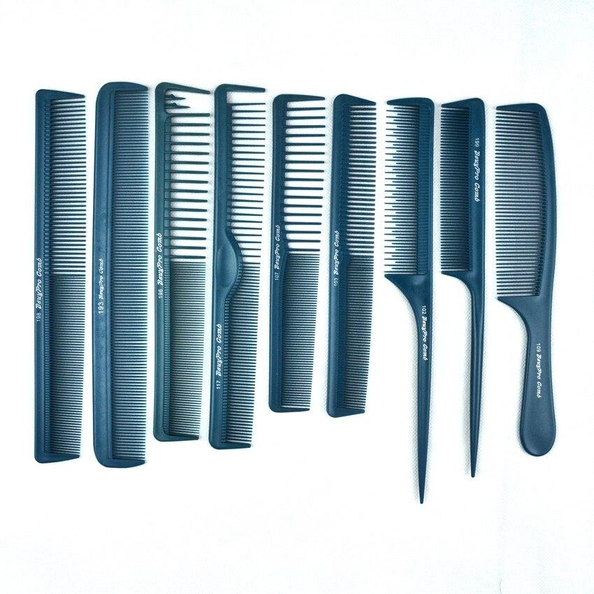 Peine Antiestático de 9 Uds para peluquería, peine de barbería en diferentes diseños, peine de carbono profesional para V-10