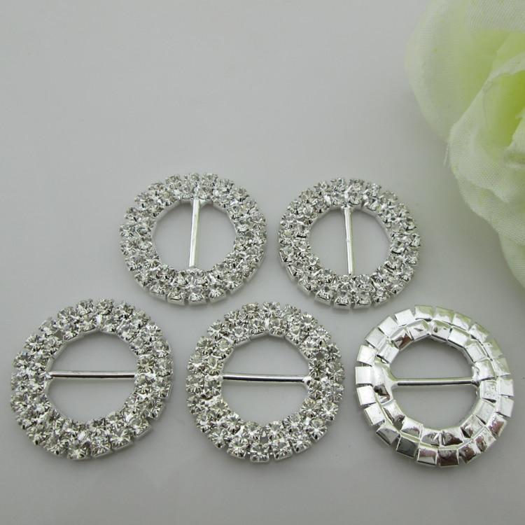 (BU20 15mm) 100 Uds Diamante Rhinestone hebilla para silla Sash cinta Slider tono plateado