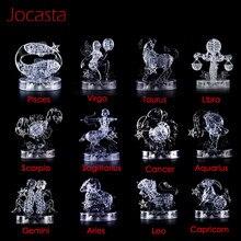 12 Constellation série 3D cristal Puzzle avec LED lumière clignotante bricolage modèle jouet décoration de la maison Puzzle jouet enfant jouets éducatifs]