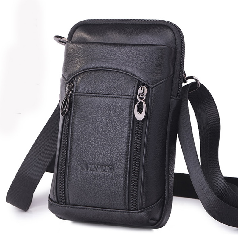 100% Genuine Leather Men Cell Phone Case Waist Bag Purse Hook Cross Body Belt Pack Casual Mini Messenger Shoulder Fanny Bags