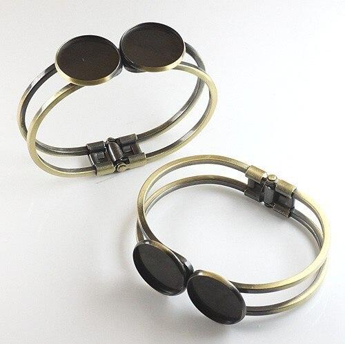 16mm doble redondo vintage latón pulsera en blanco, brazalete bisel para bandejas ajuste