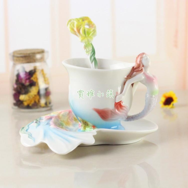 Recién llegado taza de café de sirena esmalte de porcelana de colores hueso China taza de té con platillo y cuchara regalo creativo Caneca Copo