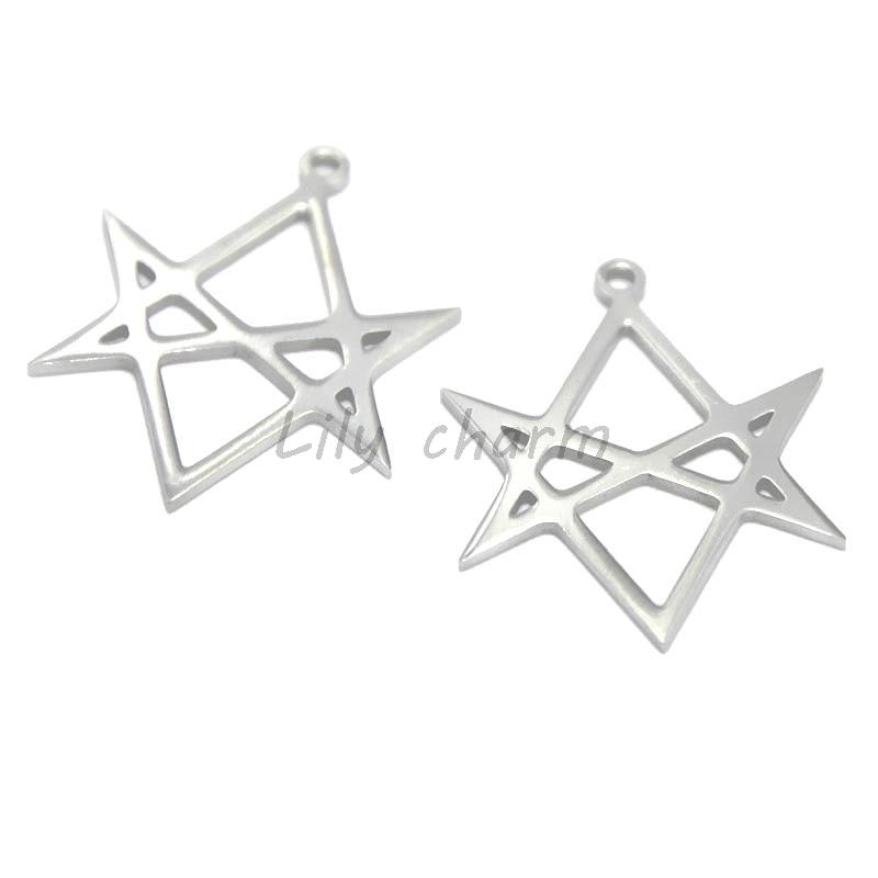 5 unids/lote de hexagrama Unicursal, símbolo colgante de acero inoxidable, emblema, amuleto Talisman, Aleister Crowley amuleto, colgante, 21x27mm