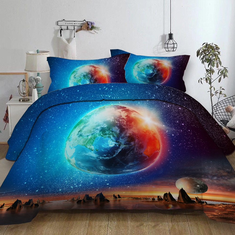 Planeta espacio impreso juego de cama funda de almohada reina rey doble tamaños completos poliéster juego de ropa de cama para edredón planeta cama