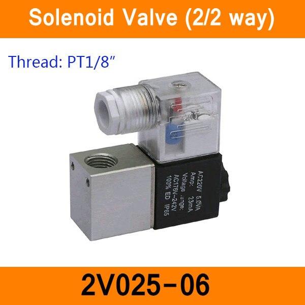 """2V025-06 1/8 """"2 posición 2 puerto 2 válvulas solenoides de aire Válvula de control neumática DC12V DC24V AC36V AC110V AC220V"""