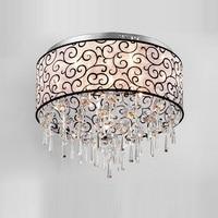 Luxury Crystal Living Room Ceiling Light Stainless steel Base Fabric Lampshade Elegant Study Room Ceiling Lamp